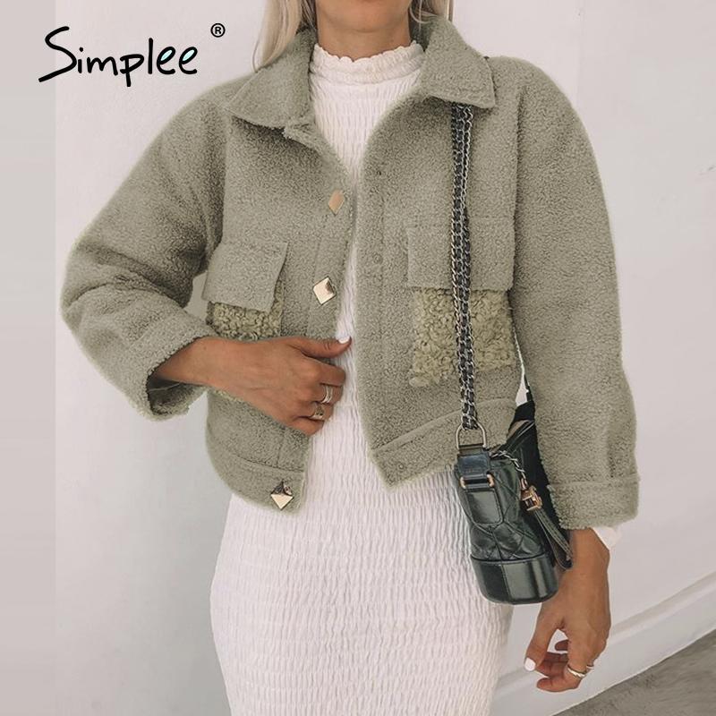 Simple Warm Teddy Pele Casaco Casaco Mulher Inverno 2020 Manga Longa Casacos Fluffy Jacet Streetwear Casuais Pockets Feminino Overcoats