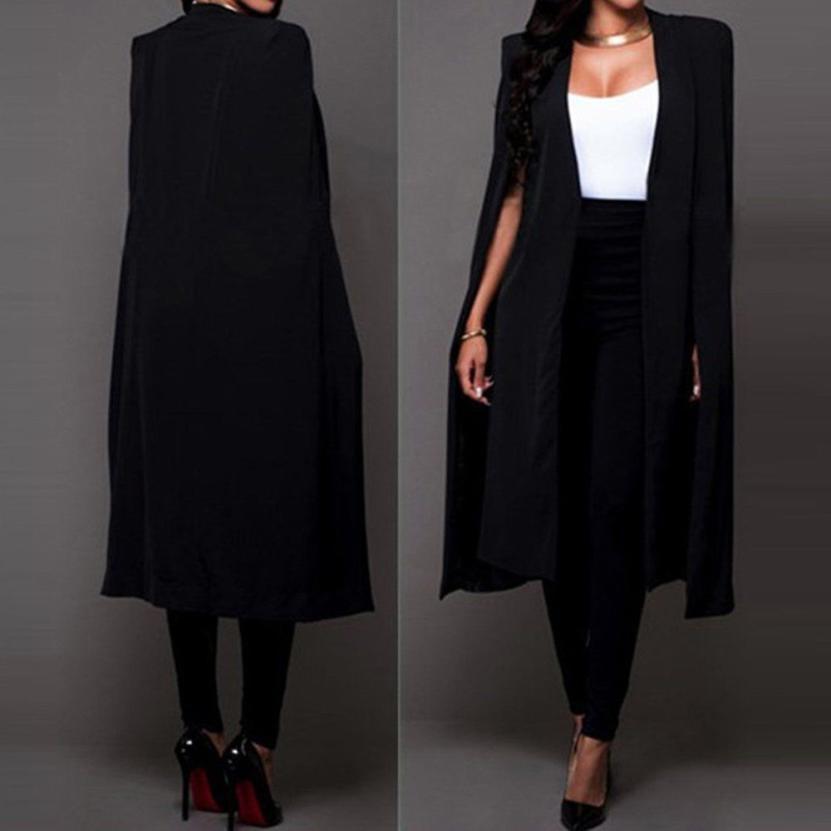 Mont Blazers Gevşek Uzun Pelerin Blazer Coat Cape Hırka Dış Giyim Trençkot ve Ceketler Kadınlar Jul27 X1214