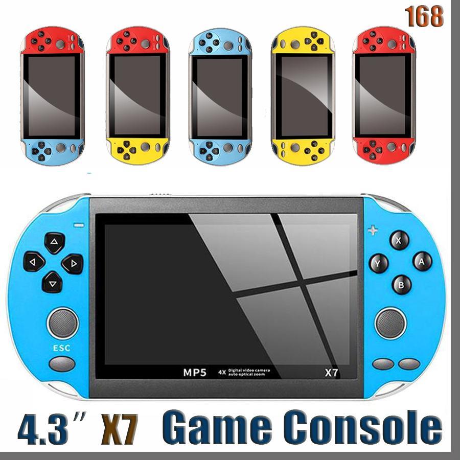 168D x7 4.3 인치 비디오 게임 콘솔 MP5 8GB ROM 더블 로커 듀얼 조이스틱 아케이드 게임 휴대용 게임 플레이어 휴대용 레트로 콘솔 4.3inch
