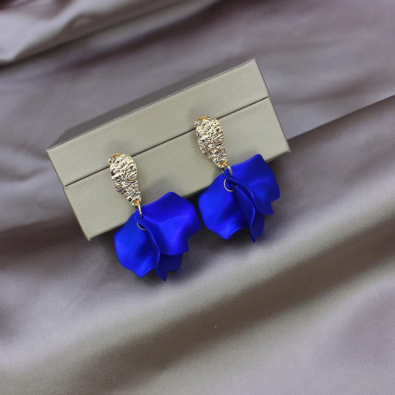 Lado brillante Nuevos accesorios Flor de rosa Pendientes para mujer para mujeres Pendientes de huella de regalo de estilo simple