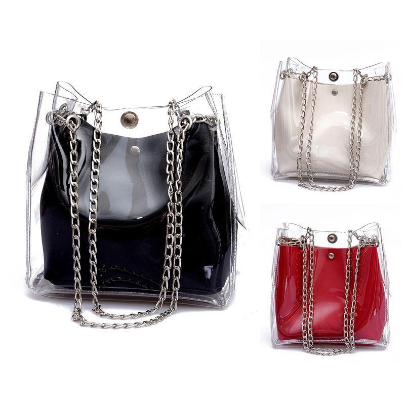 Mulheres Pequenas Bucket Bolsas Plásticas Transparentes Totes Composite Chain Bag Feminino Mini Jelly Bolsas