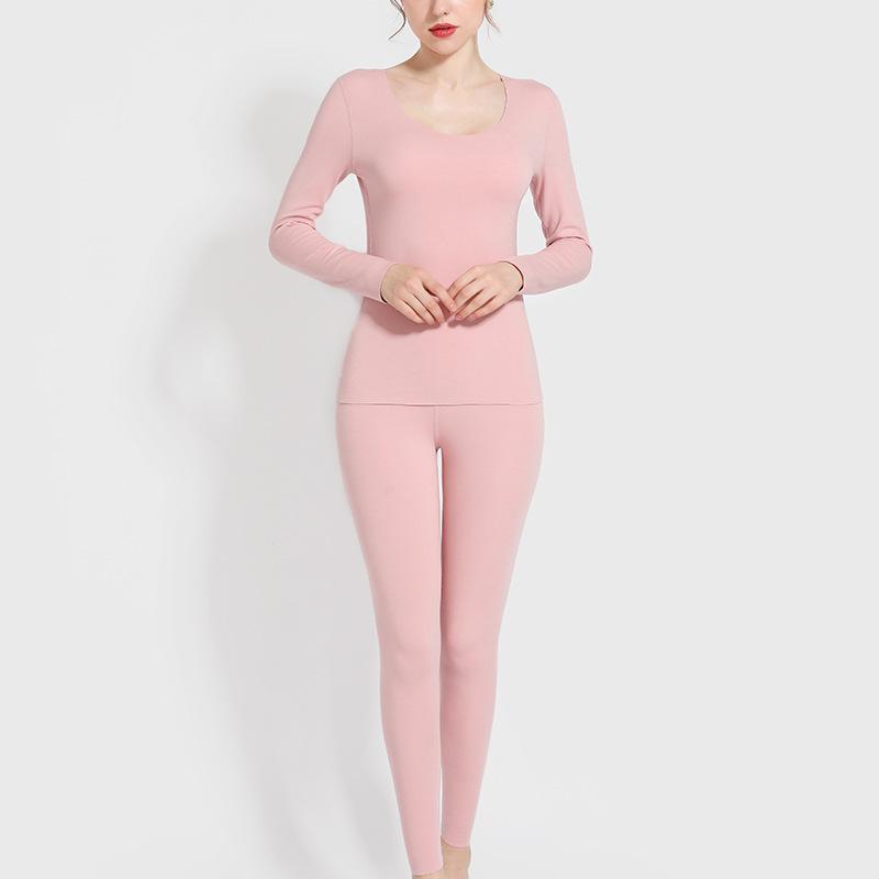 2020 Winter Damen Thermal Langarm + Hosen Nachtwäsche Anzug Weibliche Slim Plus Samt Warme Dicke Thermo Unterwäsche Set