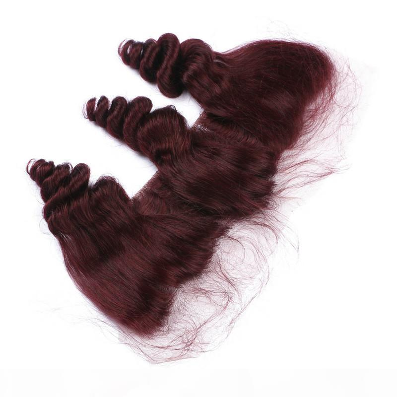 Loose Wave Wavy #99J Wine Red Brazilian Virgin Human Hair With Frontal 4Pcs Lot 13x4 Burgundy Lace Frontal Closure With Bundles
