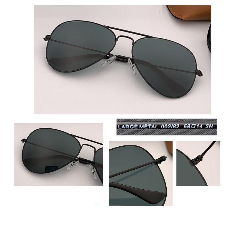 2021 NEW55MM 58 ملليمتر 62 الطيار النظارات الشمسية الرجال العلامة التجارية مصمم uv400 حماية مكبرة النساء القيادة السوداء عدسة الشمس نظارات الزجاج lenes gafas