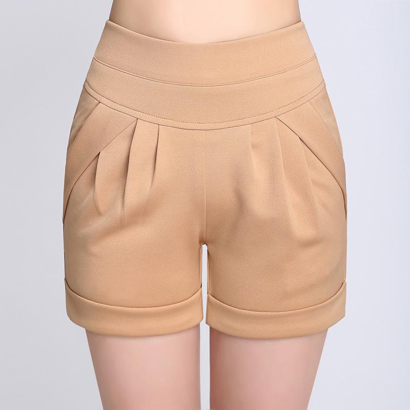 Korea Summer Womans Casual Shorts New Fashion Design Lady female Elastic Waist Short Trousers Solid Color Short Pants Plus Size Q0131