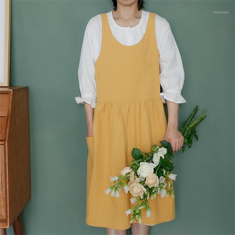 Katı renk kalın pamuk keten pileli önlük çiçekçi dükkanı bahçıvan kahve dükkanı garson iş elbiseleri yarım daire yaka uzun apron1