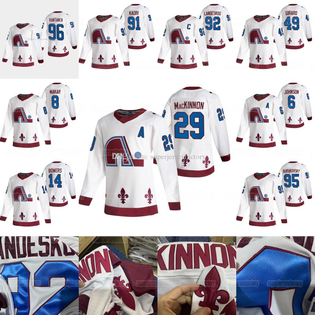 Colorado Avalanche 2021 inverse rétro Nathan Mackinnon Gabriel Landeskog Cale Makar Mikko Rantanen Joe Sakic Samuel Girard Francouz Jersey