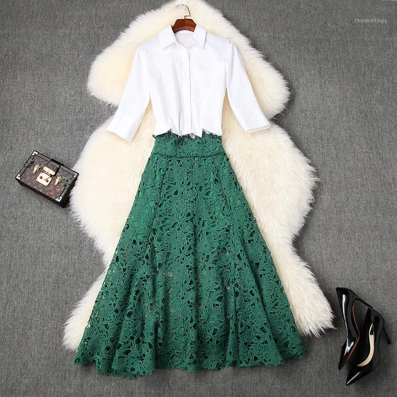 Women high waist sexy lace skirt and top set summer 2020 hollow out a-line long skirts + elegant white shirts two piece outift1