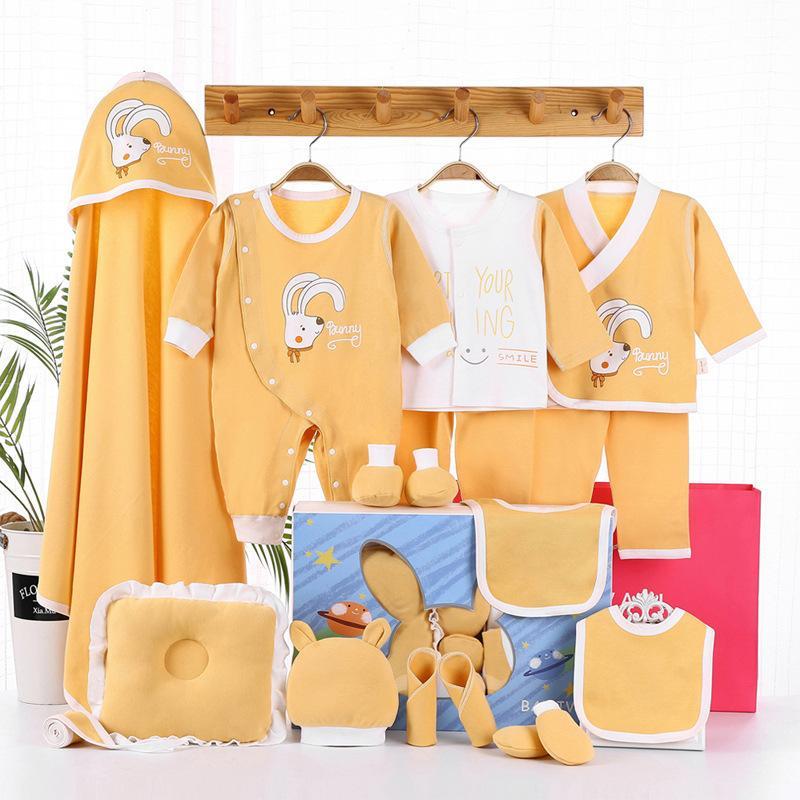 17 pcs desenhos animados recém-nascidos100% algodão bebê terno bebê menino menina conjunto de roupas de roupas de roupas de bebê conjunto y1113