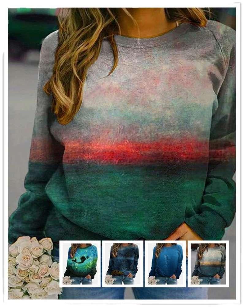 AW2020 Pullover T-Shirt Gedruckt Langarm-O-Neck-Oberteil