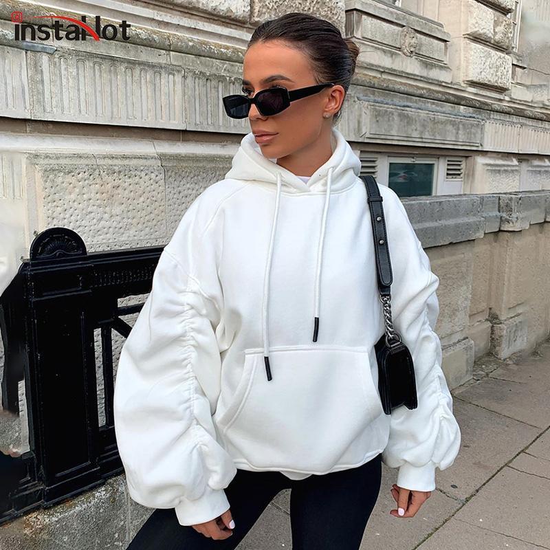 Insahot plissé lanterne manchon à capuche femme coton casual streetwear surdimensionné cordon sweats à capuche à capuche blanche gris sweat à capuche blanche y1116
