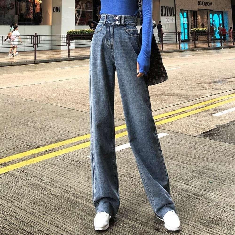 Nuovo autunno e inverno Peluche Super High Life Jeans Pantaloni a gamba larga per le donne nel 2020