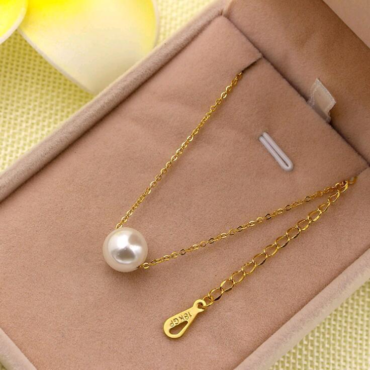 MARTICK 316L Acero inoxidable de acero inoxidable Pearl Colgante Collar Collar de enlace Collar de color oro rosa para mujer Joyería de moda P55