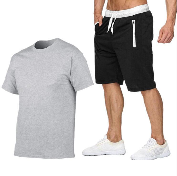 Mens Summer Tracksuit Set Jogging Sportswear Athletic Casual T-Shirt Shorts Suit
