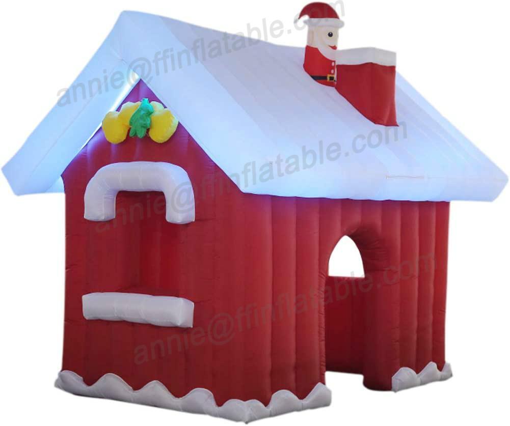 3M надувной рождественские рождественские Санта-Клаус Дом W / Светодиодные огни и воздуходувка для двора Домашнее рождественское Украшение Надувной Рождественский отказов Дом