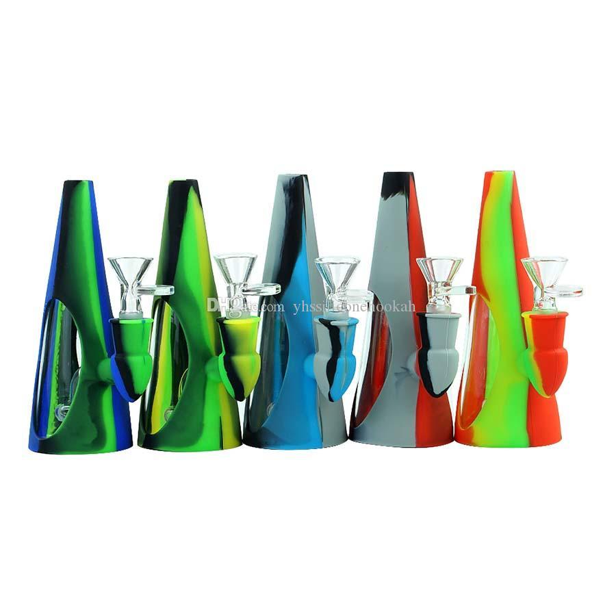 Tubulação de água de cone-forma tubulação de vidro de vidros de vidro com tigela de vidro Beaker de silicone tabaco Dab Rig Rig Hookah Recycler para plataformas de óleo de cera