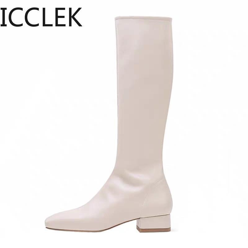 2020 Salto Mulheres Moda Preto Bloco Altas botas longas New Inverno Quente do joelho alta botas macias coxa de couro Sapatos