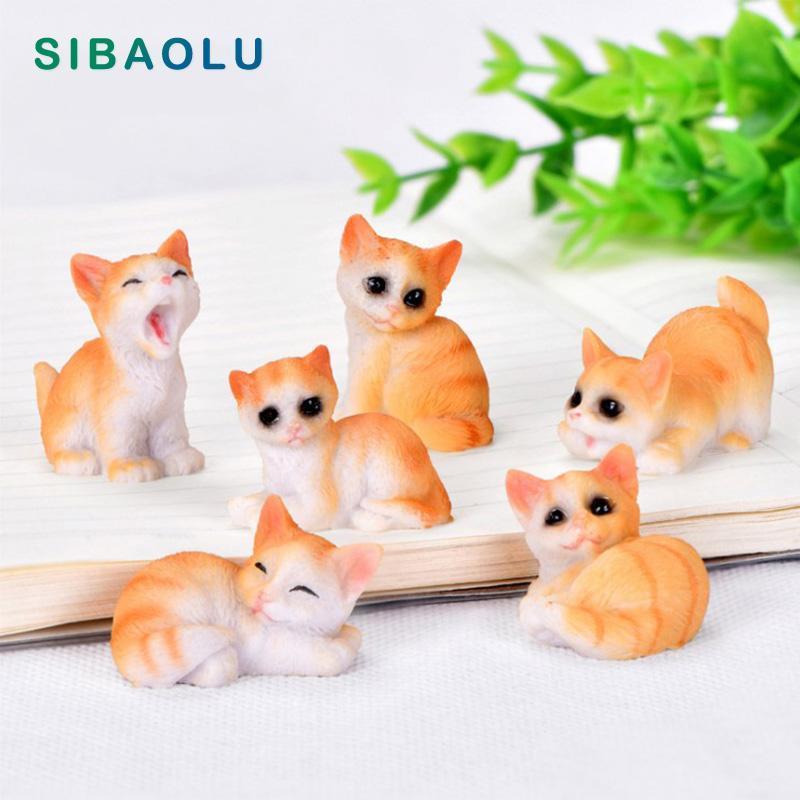 Amarillo lindo gatito gatos figurilla personaje de dibujos animados hadas jardín hogar miniatura ornamento escritorio decoración DIY accesorio nuevo 2020