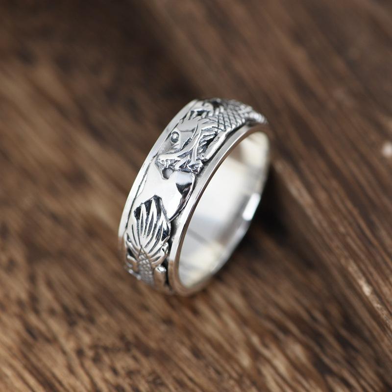 Cluster Rings FNJ 925 Silber Drache Kopf Ring Mode Real S925 Sterling Thai Für Frauen Männer Schmuck USA Größe 7-11.5
