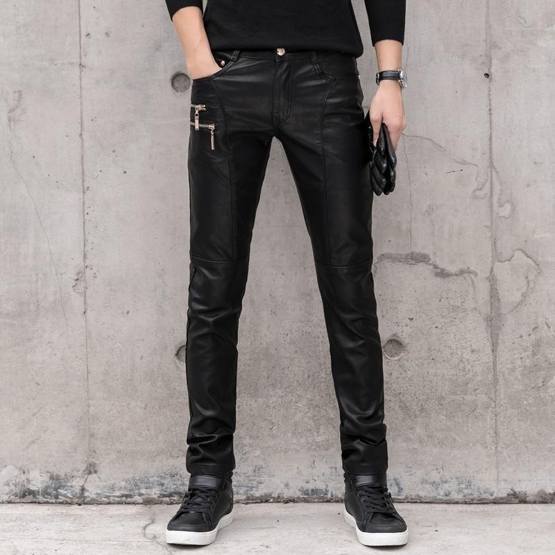 Pantalón de cuero de imitación de la moda de los hombres de los pantalones vaqueros de mezclilla Pantalones Hombre Slim Fit punk Etapa cantante motocicleta pantalones casuales hombres Y1114