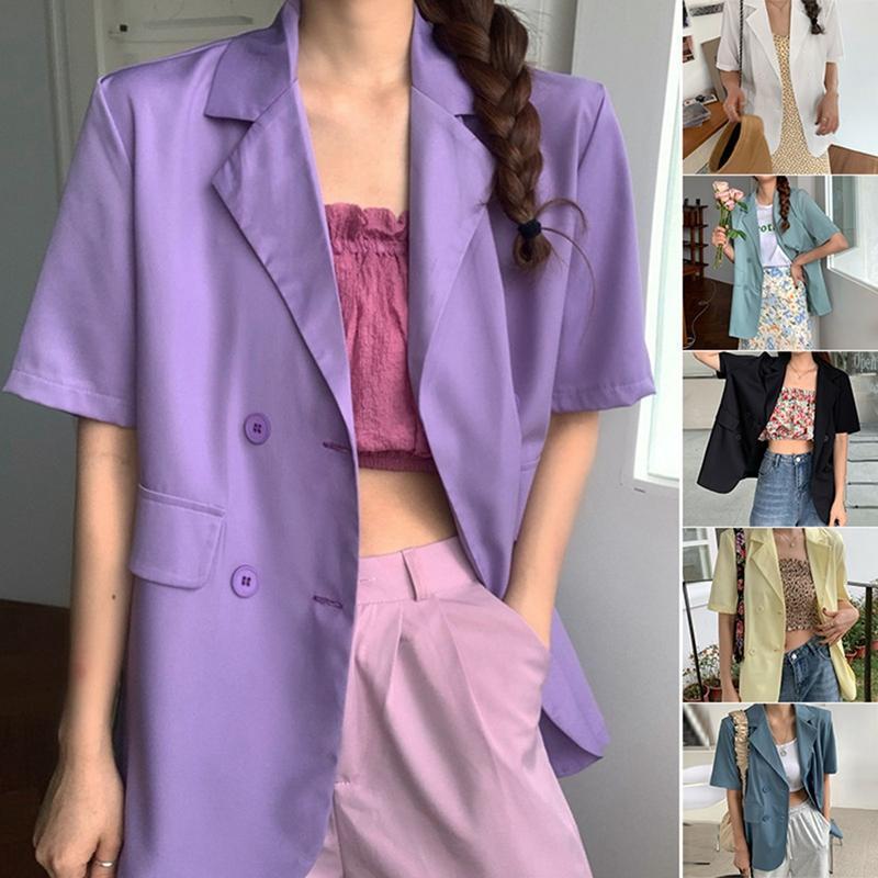 Coucheuse d'été coréen Couleur Wild Multicolore Lâche Veste de costume à manches courtes