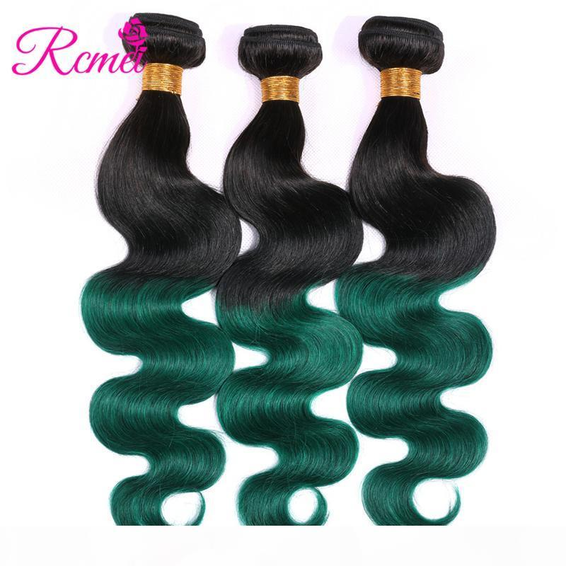 Rcmei Ombre brasileiros Humanos Tece cabelo 3 Pacotes de turquesa 2 Tone T1B Verde Pré-Colored Ombre brasileira onda do corpo Pacotes cabelo