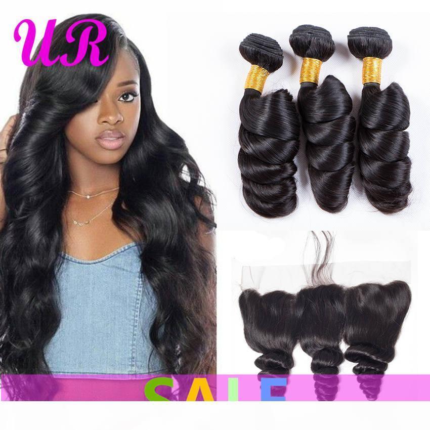 Paquetes de onda sueltos brasileños con paquetes de pelo humano de la onda floja de la onda de la virgen frontal con el encaje frontal dhgate remy extensiones de cabello