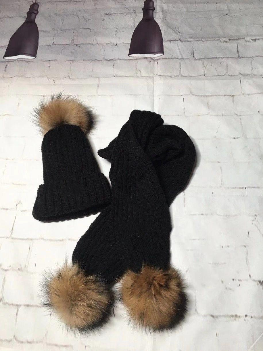 Freeshipping 2pcs/Set Winter Baby Kids Solid Caps Scarf Warm Wool Knitted Cute Fox fur ball Hat+Scarf Children Neck Warmer Cap one size