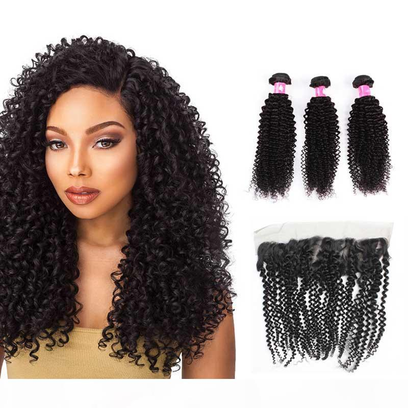 Virgin Brazilian Afro Kinky Curly Hair Bundles With Lace Frontal Closure Remy Peruvian Human Hair Weave With Frontal Piece soft Curl