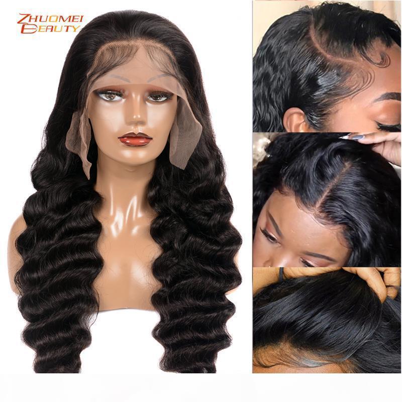 180 Yoğunluk Gevşek Derin Dalga Dantel Ön İnsan Saç Peruk İçin Siyah Kadın 13x6 Dantel Açık Peruk Öncesi Plucke Remy Peru Doğal Peruk