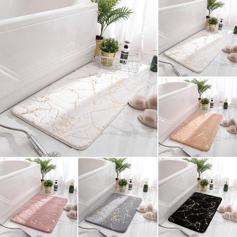 Faux Fur Bathroom Mat Banheira Tapetes Modern Home Floor Tapetes para sala de estar Bedroom WC Bathtub Side Pat Anti-Skid