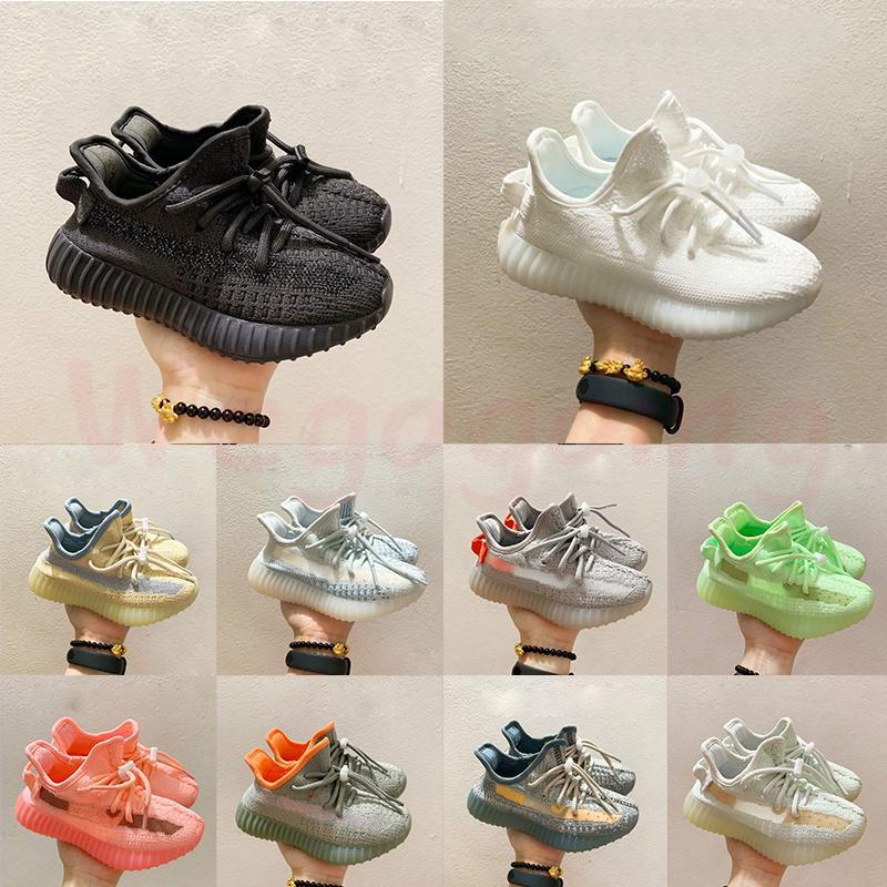 2021 Enfants entraîneurs enfants enfants V2 chaussures de course Kanye West noir blanc 3M réfléchissant garçons filles sportives sportives athlétiques chaussures de sport