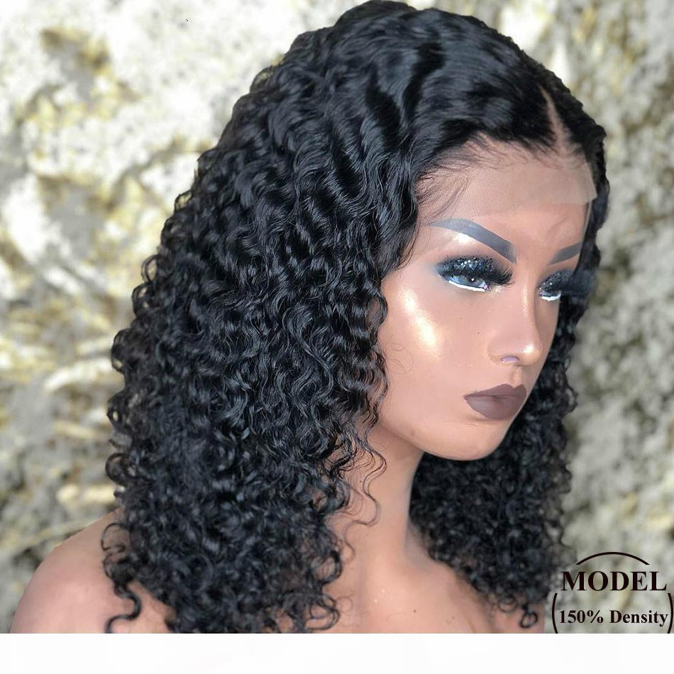 Malezya Kısa Bob Dantel Ön İnsan Saç Peruk Pre Klumped Siyah Kadınlar için Tutkalsız 13x4 Derin Dalga Frontal Peruk Remy