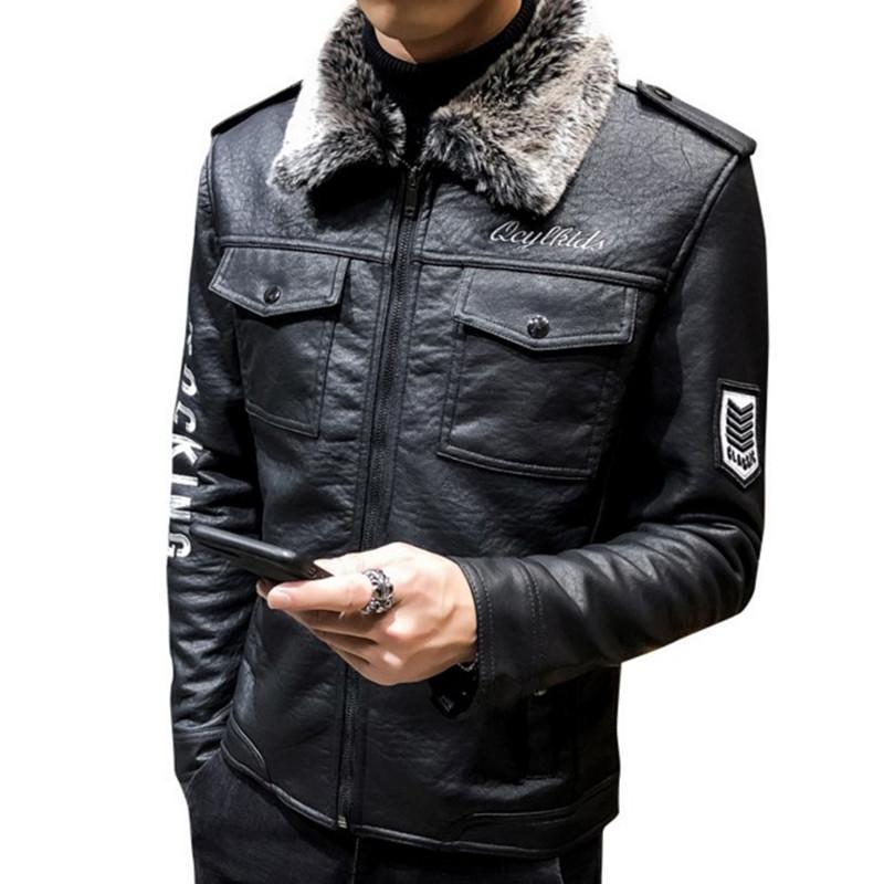 Высокое качество кожаная куртка для мужчин 2020 Оригинальные Подлинная Повседневная Punk меховой воротник Мотоцикл Мужской Winter Warm Pilot Jacket Coat