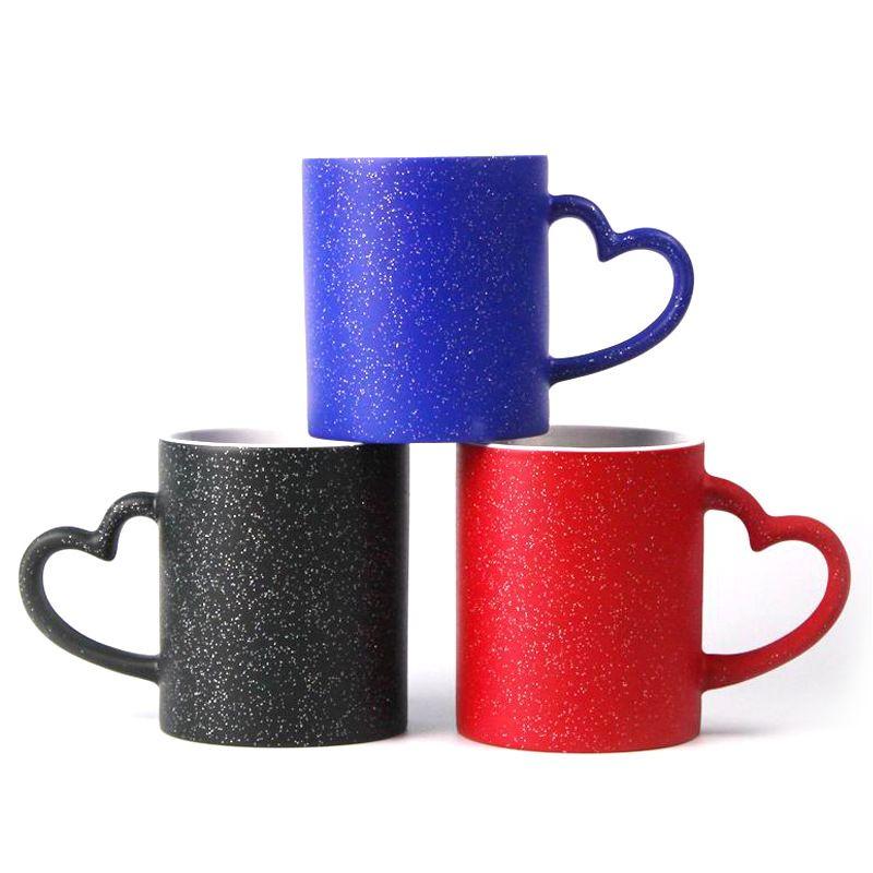 사랑 하트 핸들 컵 무성한 승화 빈 검은 빨간색 파랑 스타 머그잔 DIY 색상 변화 세라믹 텀블러 패션 6EX G2