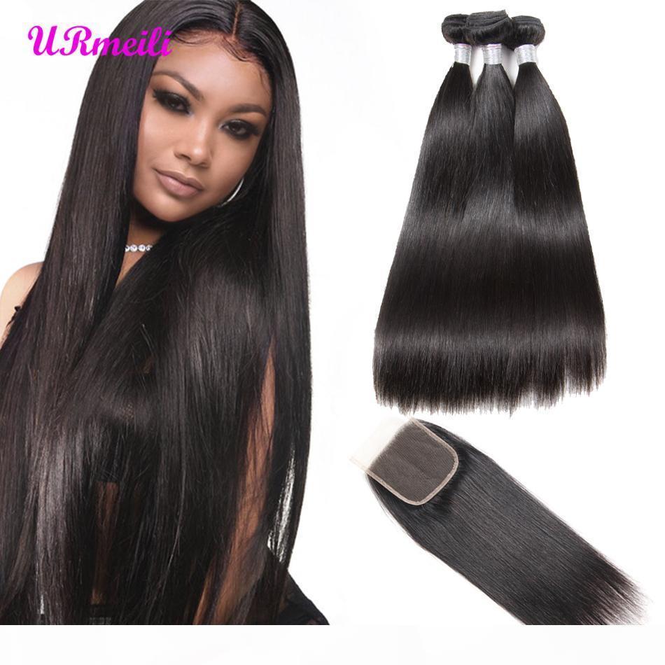 Бразильские прямые волосы девственницы 3 4 связки с закрытиями 9А волос 30 дюймов связки прямые человеческие пакеты волос с кружевной закрытием
