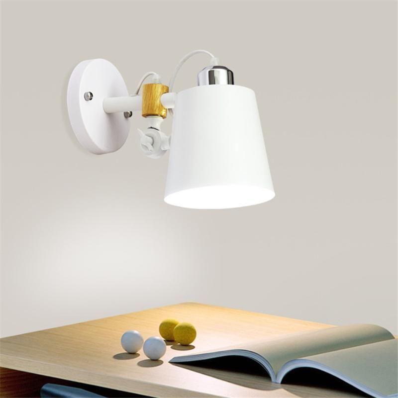 Beiaidi Nordic Modern LED Lâmpada de Parede Madeira Sólida Arm Ajustável E27 Wall Light Foyer Aisle Balcão Entrada Casa Bar Lâmpada de cabeceira
