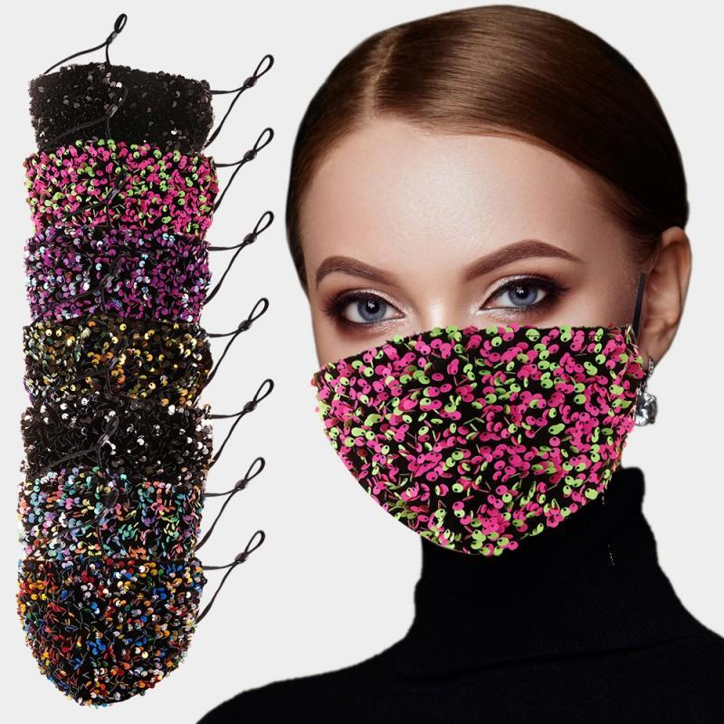Face Mask Fashion Salon BlingBling Paillette Sequin Designer Luxury Mask Reusable Adult Mascarillas Protective Adjustable Rope BEB3376