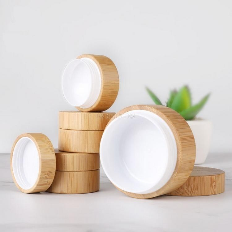 5g 10g High Qualtiy Bamboo Bottle Cream Jar Nail Art Mask Refillable Empty Cosmetic Makeup Container 300pcs/lot