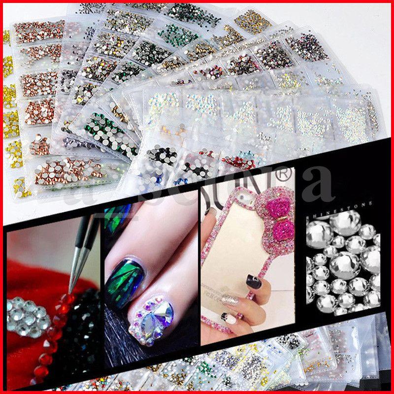 Nail Art Strasssteine Kristall Micro Diamant Flatback Kleber Feste Nicht Hotfix Strass Dekoration Kleidung DIY 20 Farben 6 Größe