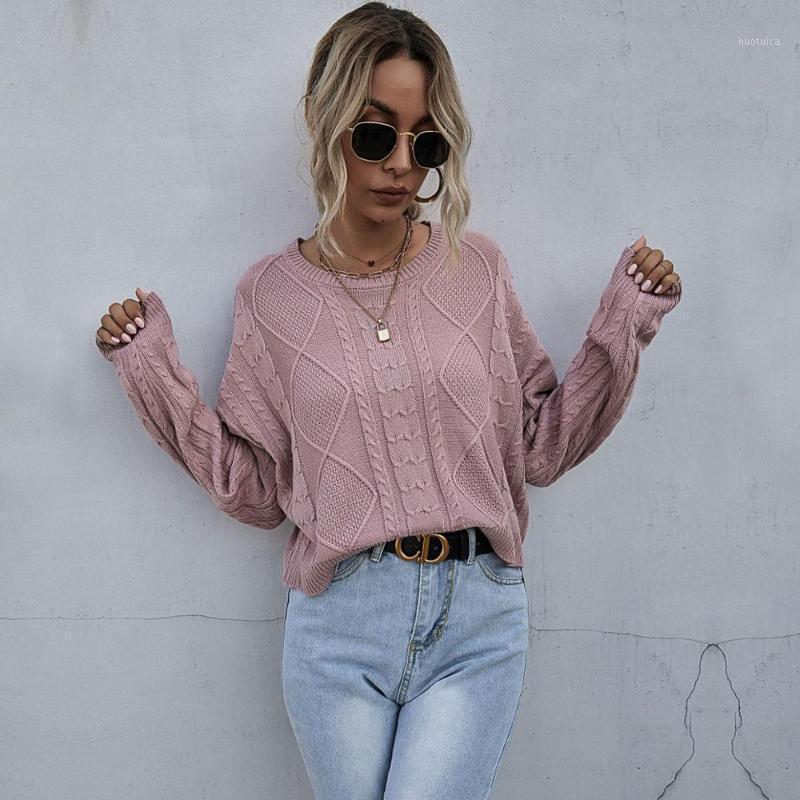 Женские свитеры 2021 Осенние женские пуловеры в трикотажные одежды Англия Стиль с длинным рукавом Свободный Удобный Урбанские причинно-тяжкие коврики