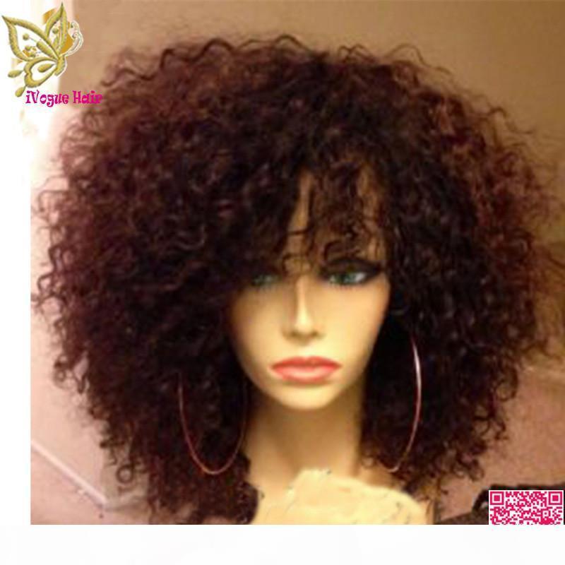 Kurzer afro kinky lockige Perücke brasilianische Haarspitze Front Perücke lockiges glühende menschliche Haar volle Spitzeperücke mit Pony Babyhaar