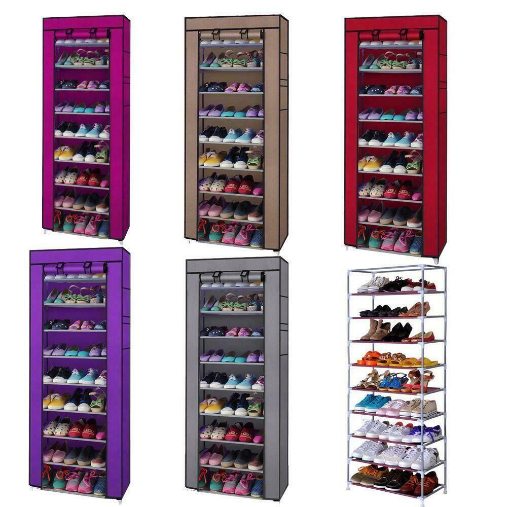 Новые 9 GRID 10 слой портативной обуви стойку для хранения шельфа шкаф для хранения дома организатор с крышкой
