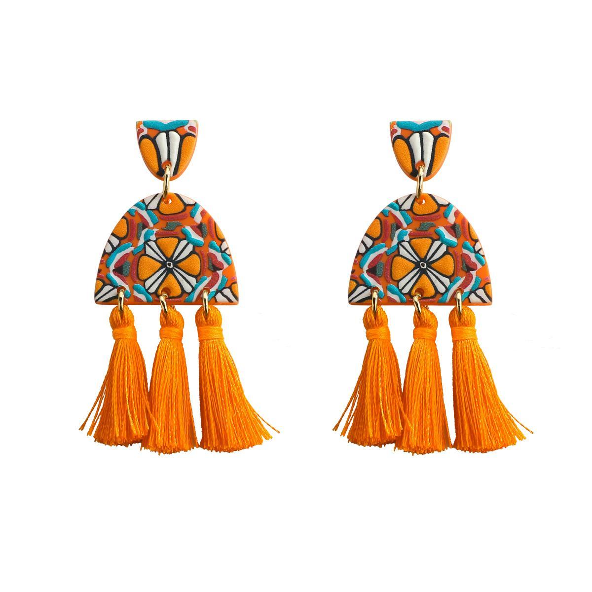 Boucles d'oreilles à longue portée de Tassel acrylique Bohemian pour femmes d'impression d'impression de femmes boucles d'oreilles franges 2020 mode pour femmes bijoux