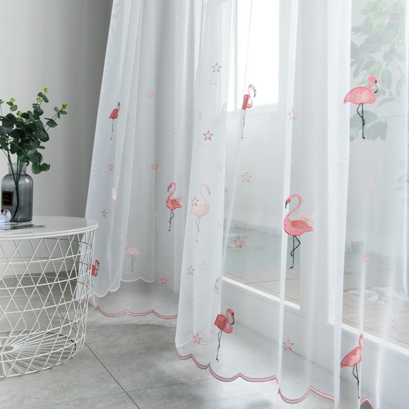 Cortinas nórdicas de tul para la sala de estar Transparent Sheer Cortina con bordado flamenco gasa blanca para el dormitorio Voile cortina1