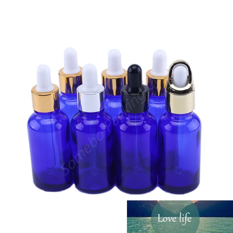 Botellas de gotero de ojo de vidrio azul de 30 ml con pipetas para aceites esenciales Los productos químicos de laboratorio vacíos recipientes cosméticos