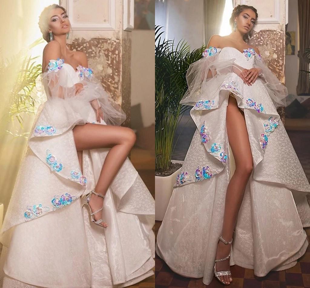 Dubai árabe kaftan vestidos de fiesta 2021 de descuento apliques de hombro flores azules altas vestidos de noche con capas de fiesta formal moderno vestido de fiesta al7758