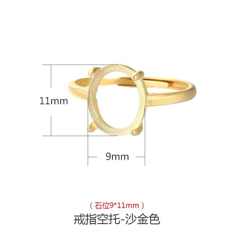 S925 Sterling Silver Mens e Womens Ring Frame Areia Anel de Ouro Ajuste Antigo Anel de Prata Anel de Prata Beeswax Jade Jasper Holder Vazio Suppo