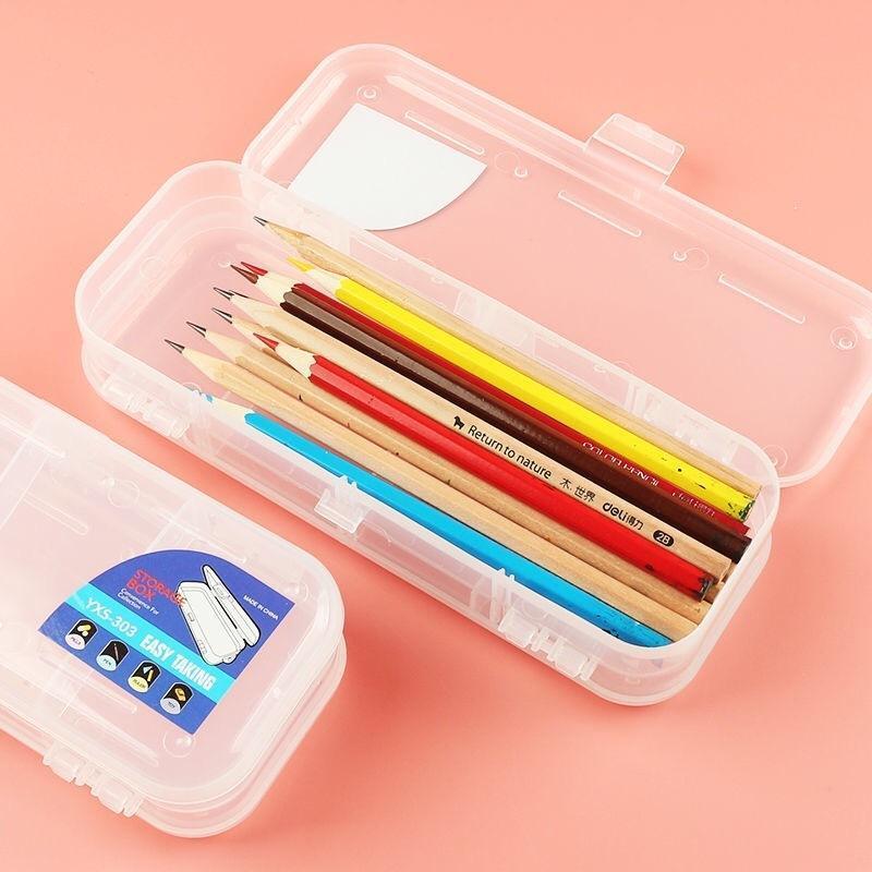 Doppelschicht Bleistiftkoffer transparent PP-Kunststoff-Stift-Box doppelt offene Aufbewahrungsbox-Schreibwaren-Schulbüro-Lieferungen