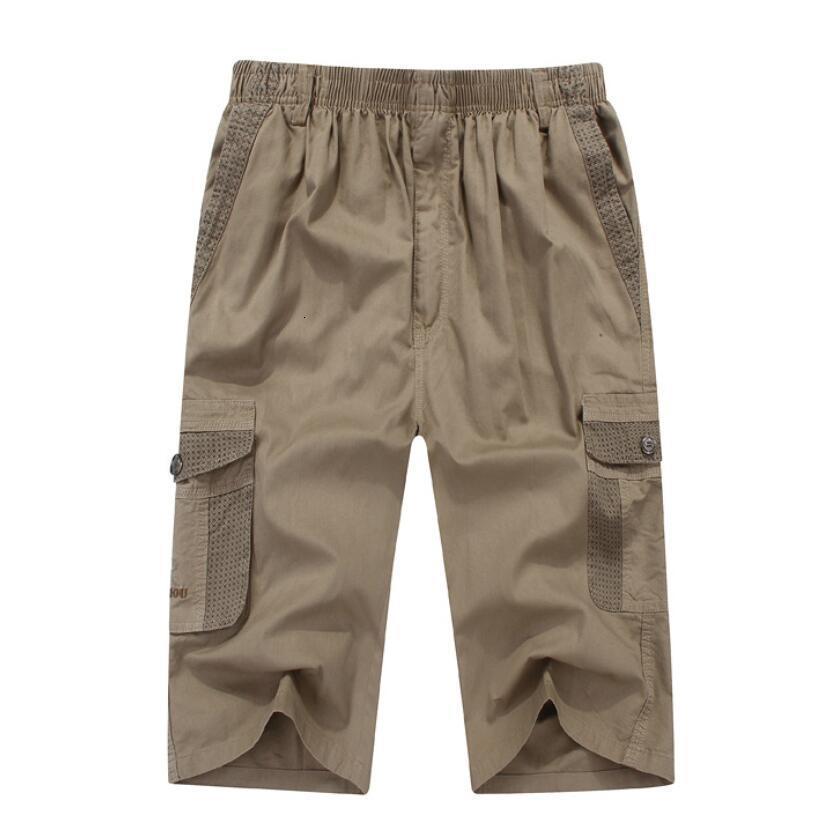 Summer Men's Safari Style Cargo Pocket Cotton Plus Size 5xl 130kg Man Casual Hanated Vita Pantaloncini elasticizzati Stretch Khaki 46